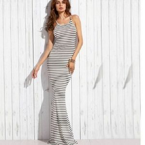 Bluewinkz Dresses - Sexy Black and White Stripe Maxi Dress